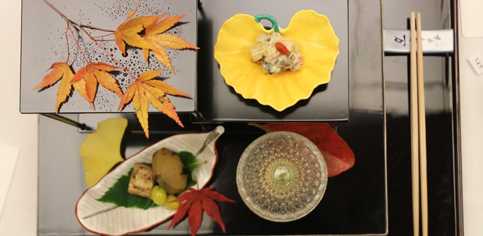 A flawless kaiseki meal at Tokyo Nadaman at the Imperial Hotel Tokyo. These traditional multi-course meals feature exquisite presentation, with a focus on seasonality—hence the perfectly placed fall leaves