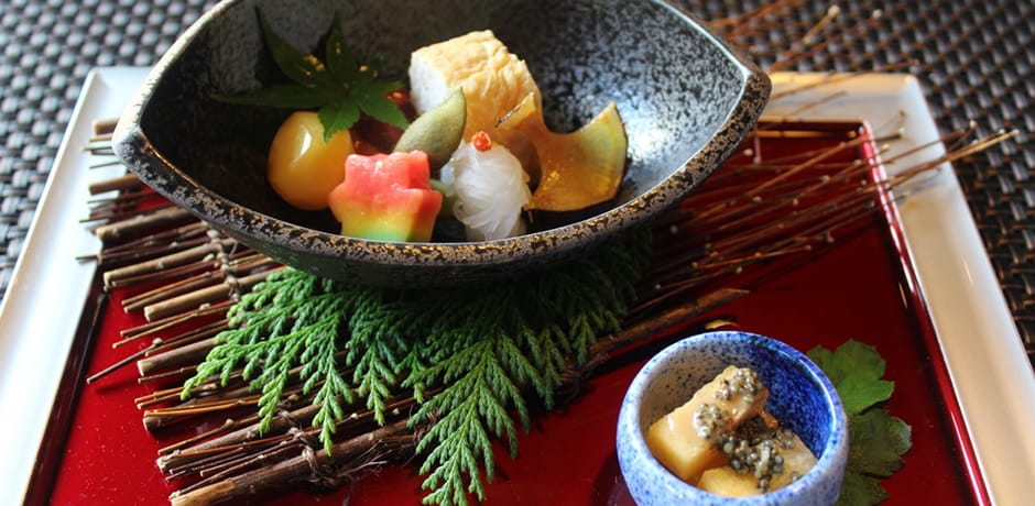Kaiseki meals draw on traditions from imperial court cuisine, Samurai cuisine and tea ceremonies