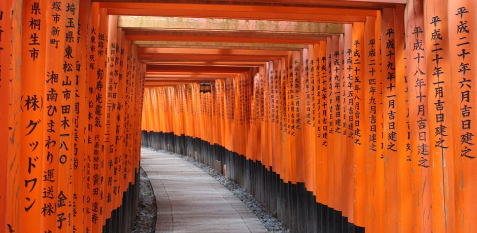 The orange gates at the glorious Fushimi Inari Shrine in Kyoto wind up a hillside