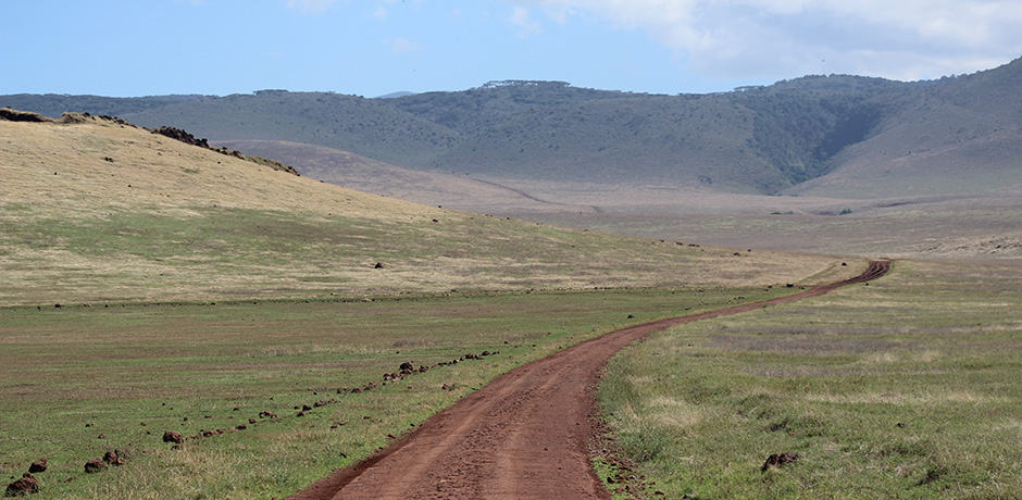 The open landscape at the Ngorongoro Crater