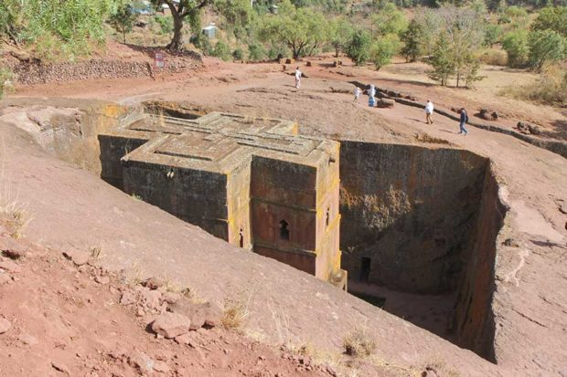 A monolithic rock-hewn church at Laibela in Ethiopia
