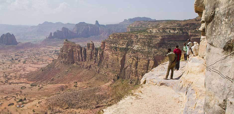 The view during the hike to see the Daniel Korkor rock-hewn church in Gheralta, Ethiopia