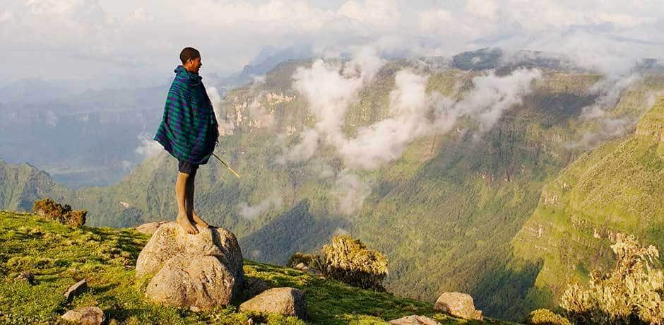 A man in Simien Mountains National Park in Ethiopia