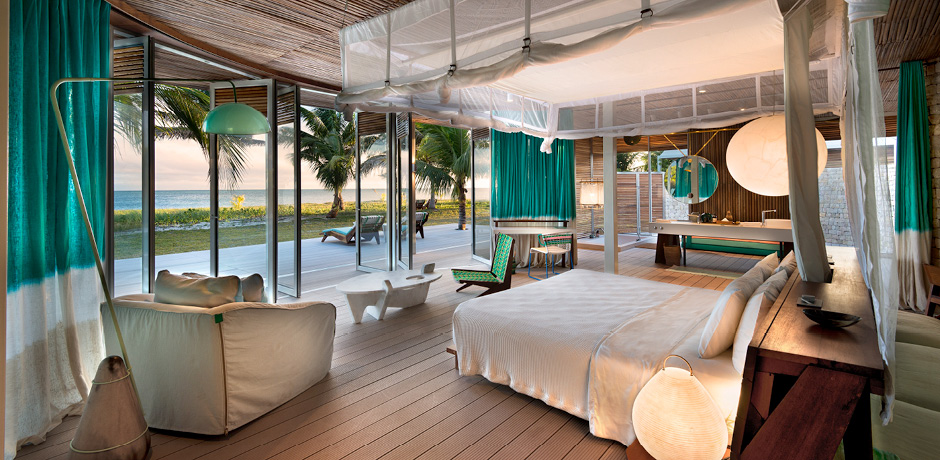 Views from a bedroom in a private villa at Miavana, courtesy Time + Tide Miavana.