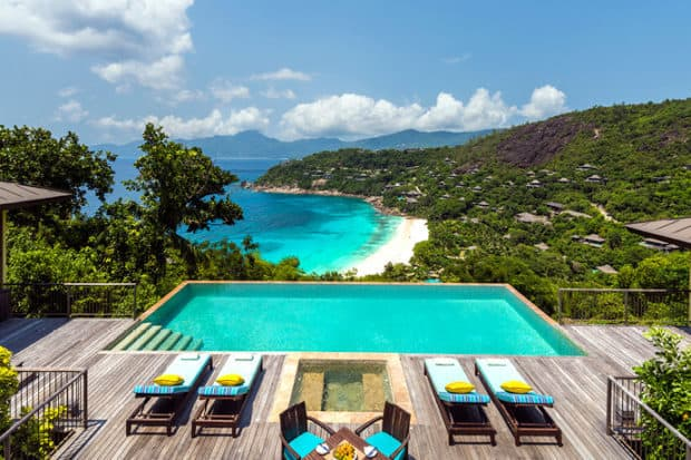 Poolside views at the Four Seasons Seychelles, the sister property to the newly-opened private island resort, Four Seasons Desroches. Courtesy the Four Seasons.
