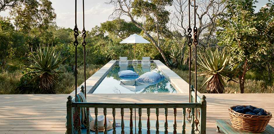 The private pool at the Farmhouse villa at The Farmstead at Royal Malewane, South Africa. Courtesy the Royal Portfolio.