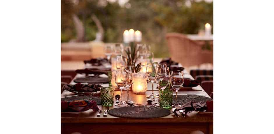 Dining at the main lodge at The Farmstead at Royal Malewane, South Africa. Courtesy the Royal Portfolio.