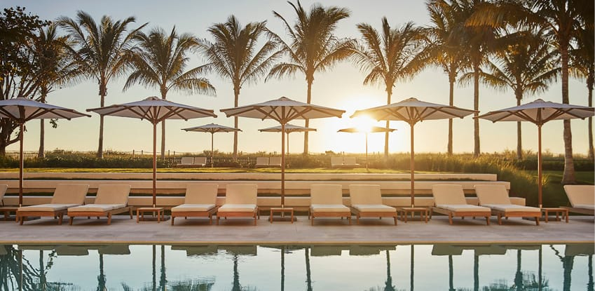 The pool at the Four Seasons at the Surf Club, Miami