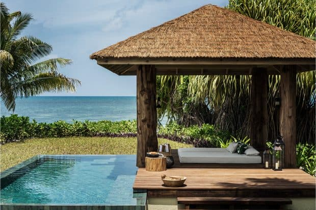 Pool and cabana at the Four Seasons in the Seychelles