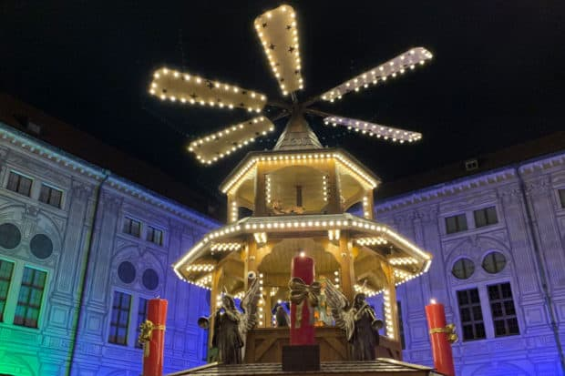 Festive lights at the holiday market in Munich. Courtesy Indagare