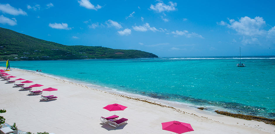 Pink Sands Club's unmistakable pink umbrellas