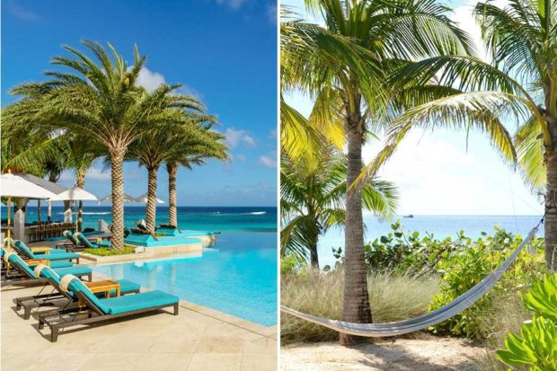 From left: the pool at Zemi Beach (courtesy Tambourine, photographer Dylan Cross); a hammock on the beach in Anguilla (courtesy Viceroy)