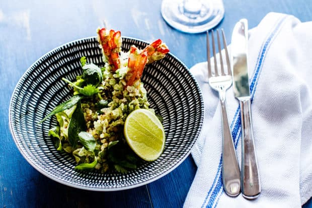 King prawns crumbed in green rice flakes with ginger pickle salad at Paper Daisy