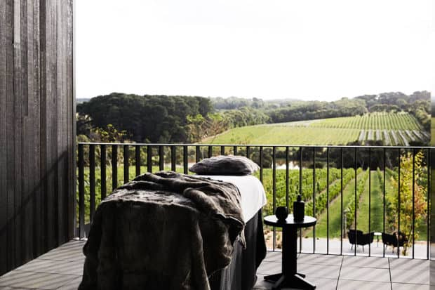 The spa treatment room overlooking the vines