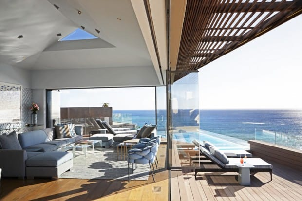 The indoor/outdoor lounge at Ellerman House