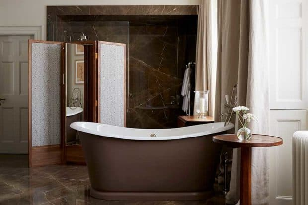 The bathroom in the Ochre suite