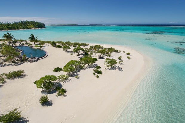 Aerial view of The Brando resort in French Polynesia