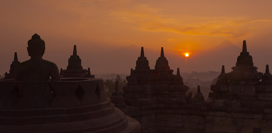 Borobudur in Java, Indonesia at sunrise
