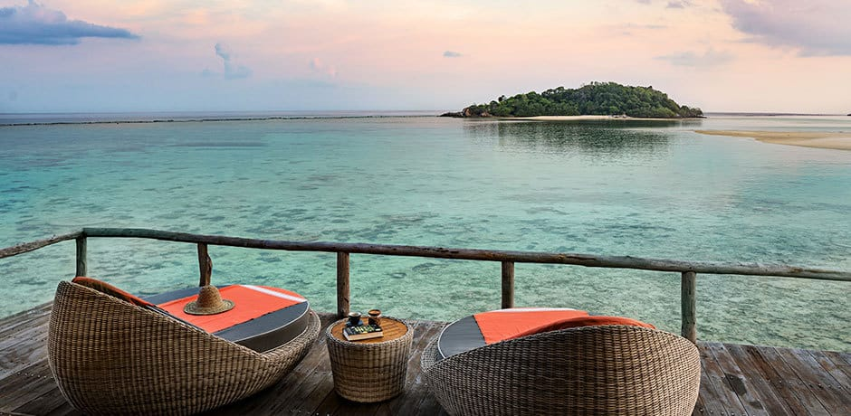 The view from an overwater bungalow at Bawah