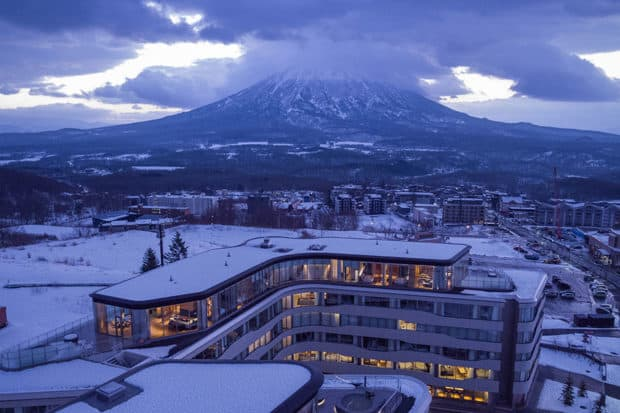 The exterior of Skye Niseko with Mount Yotei in the background