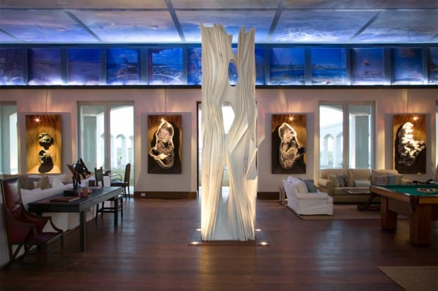 Lounge with white sculpture at Estancia Vik, Uruguay