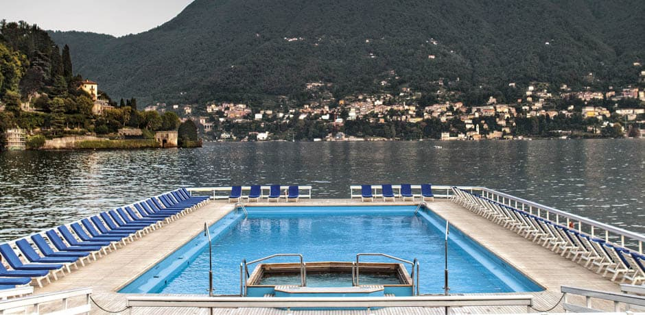 The floating pool at Villa d'Este, on a barge in the middle of Lake Como