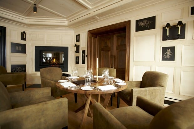 Dining table in Almhof Schneider ski lodge at Lech