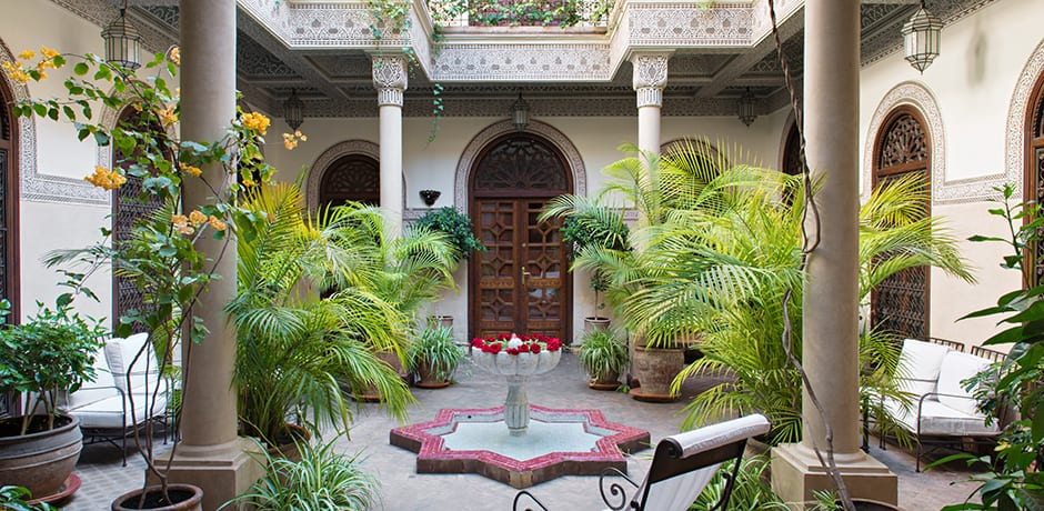 The central courtyard of Villa Des Orangers