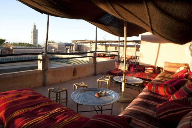 Couches on El Fenn rooftop bar in Marrakech