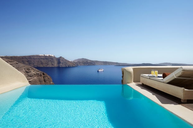 An infinity plunge pool at Mystique, in Santorini. Courtesy Mystique, a Luxury Collection Resort.