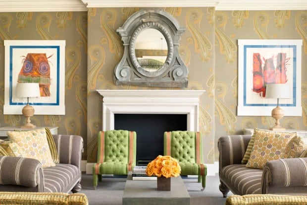 Lounge with fireplace and green wallpaper at Crosby Street Hotel, NYC