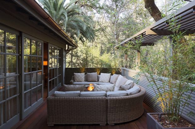 Couch and firepit on patio at Meadowood in Napa Valley California