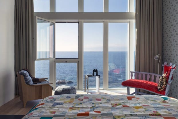 External view of sea from Bedroom at Fogo Island Inn, Canada - Courtesy Alex Fradkin