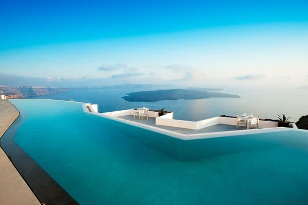 Infinity pool with ocean view at Grace Santorini