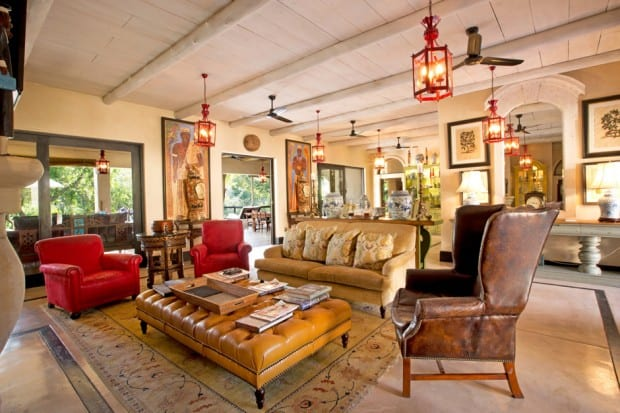 Lounge with leather furniture at Royal Malewane, South Africa
