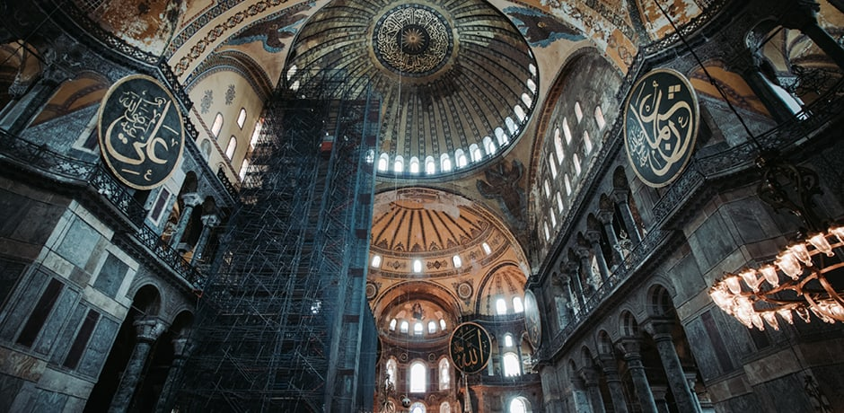 A view inside the Hagia Sophia, one of the most impressive cathedrals standing known as the