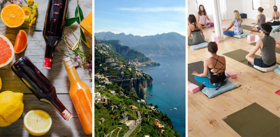 Left and Right: Courtesy Shack Yoga; Center: Amalfi Coast
