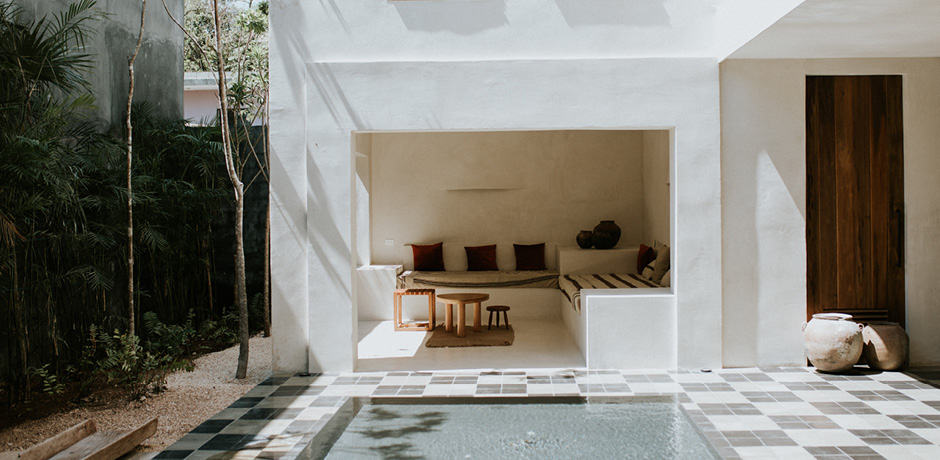 The atrium at Casa Pueblo Tulum. Photo by Britney Gill.