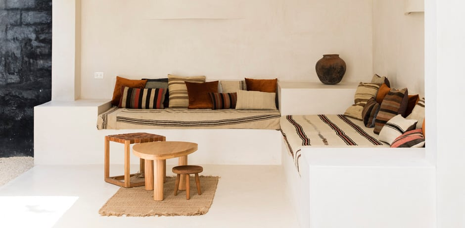 A cozy nook with local textiles at Casa Pueblo Tulum. Photo by Nicole Gerulat.
