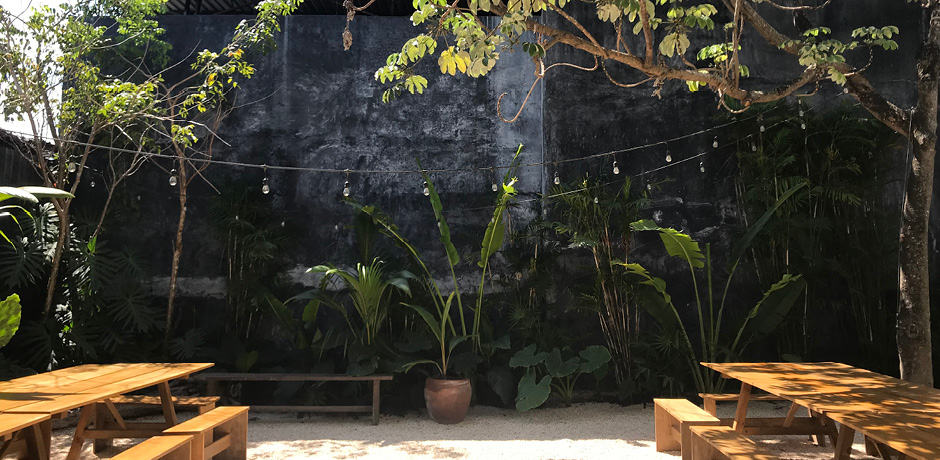 The back patio, adorned with strings of lights, is used for yoga lessons, pop-up shops, dinner parties, live music and more. Photo by Elizabeth Harvey.