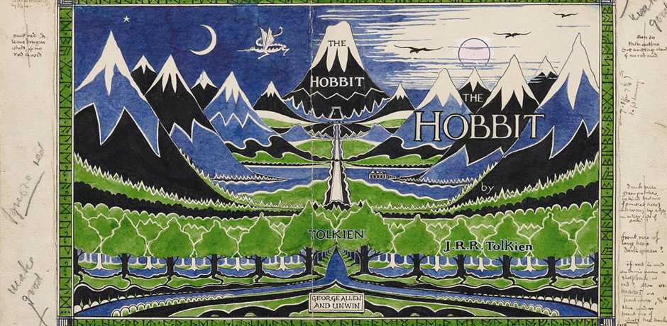 J. R. R. Tolkien (1892-1973), Dust jacket design for The Hobbit, April 1937. Bodleian Libraries, MS. Tolkien Drawings 32. © The Tolkien Estate Limited 1937. Courtesy The Morgan Library, New York City.