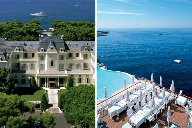 Hotel du Cap Eden Roc aerial view and pool and waterfront in the South of France