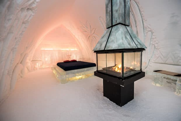 Hotel de Glace's working fireplaces are a rarity for ice hotels. Photo courtesy Hotel de Glace