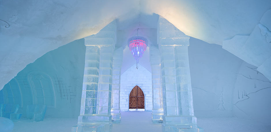 Hotel de Glace is only a short drive from Quebec City, making it the most accessible ice hotel for Americans. Photo courtesy Hotel de Glace