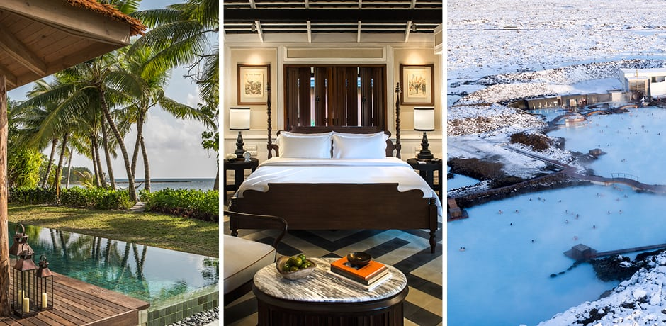 From left: Four Seasons Desroches Island, the Rosewood Luang Prabang, the Retreat at Blue Lagoon