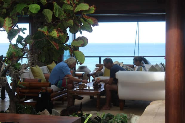 Sir Richard Branson playing Chess at Necker Island