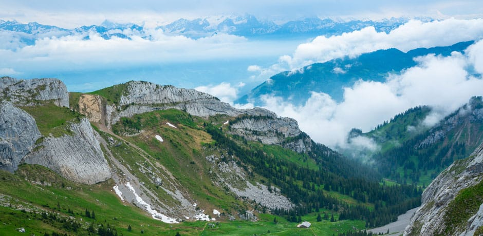 Landscape of the Swiss Alps, taken from the top of Mt. Pilatus near Lucerne, Courtesy Ian Tibbals