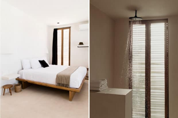 The bedroom suites—which include walk-in rain showers—are minimalist without sacrificing comfort at Casa Pueblo Tulum. Photos by Nicole Gerulat (left) and Benjamin Holtrop (right).