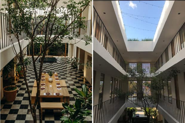 A view of the atrium, above and below. Photos by Benjamin Holtrop (left) and Elizabeth Harvey (right).
