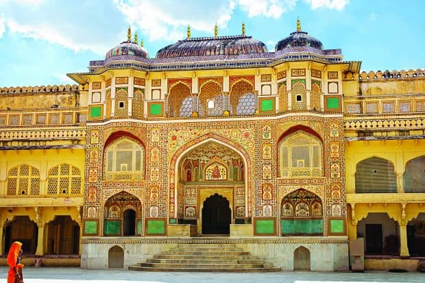 Detail of decorated gateway at Amer Fort in Amer, Rajasthan, India